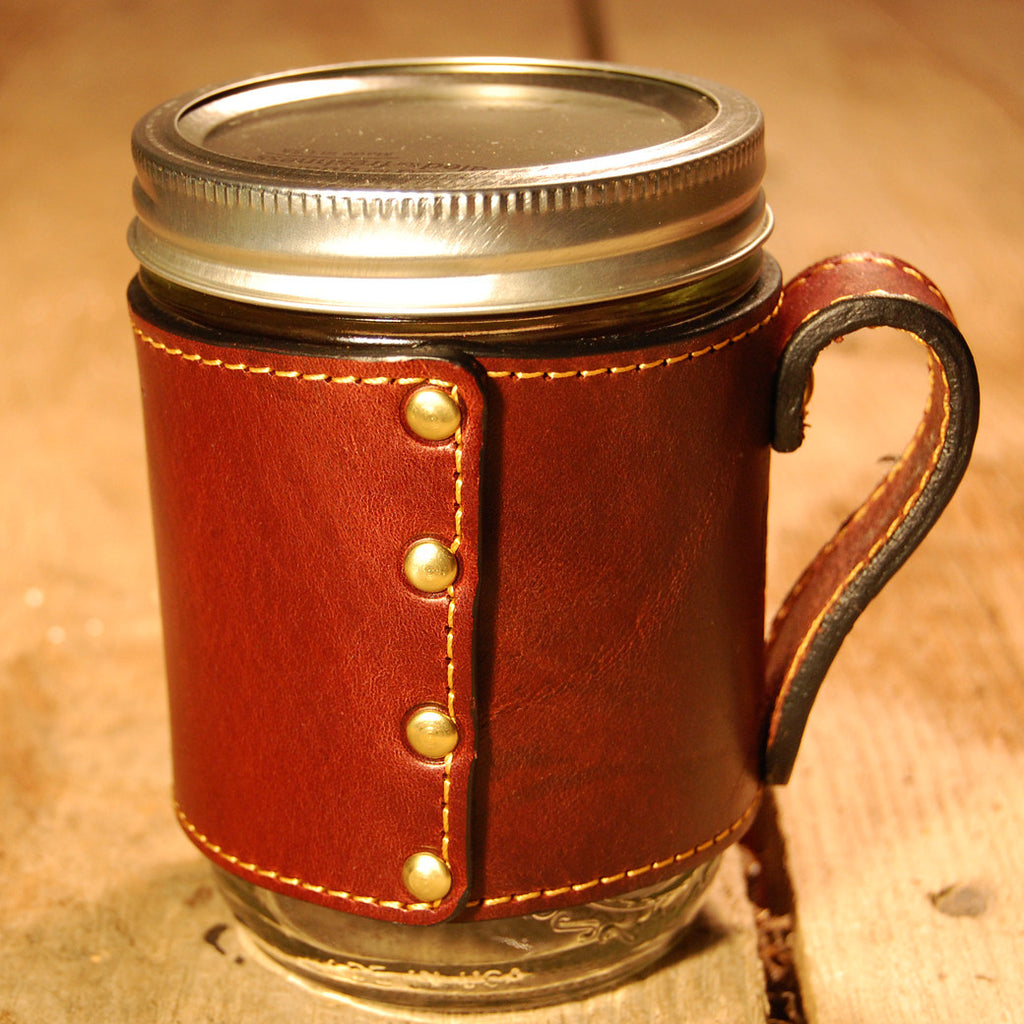 Dark's Leather Jar Drink Wrap in Bridle Leather Mahogany, Front