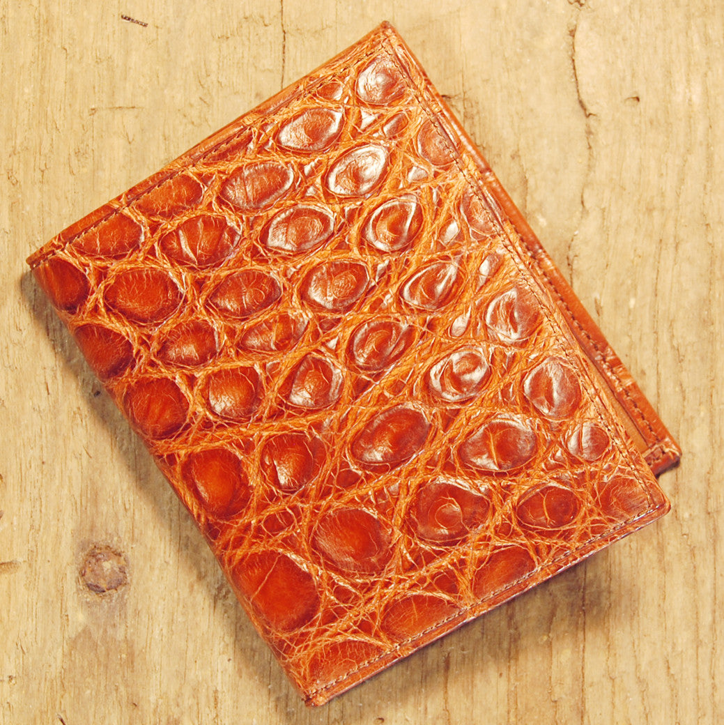 Dark's Leather Money Clip Wallet in Alligator Cognac, Front