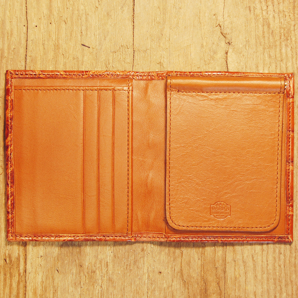 Dark's Leather Money Clip Wallet in Alligator Cognac, Interior