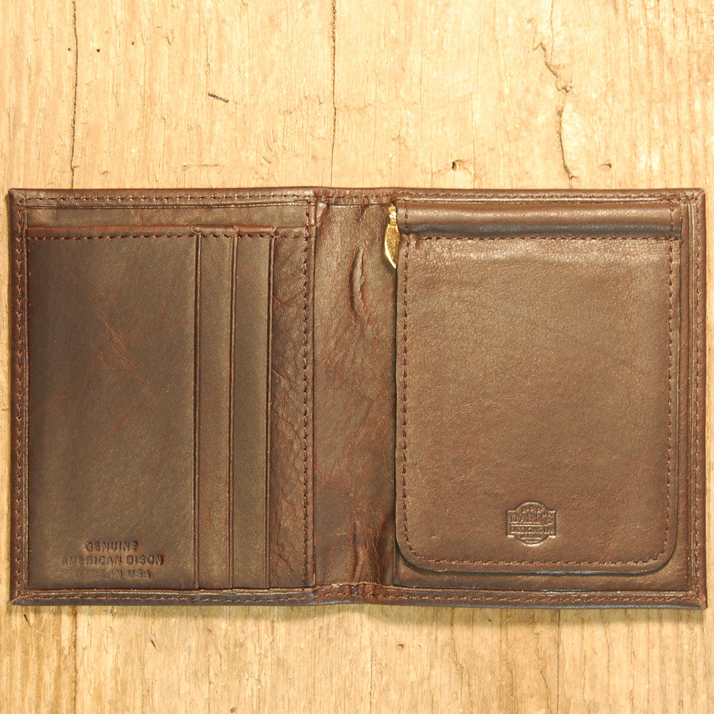 Dark's Leather Money Clip Wallet in Bison Espresso, Interior