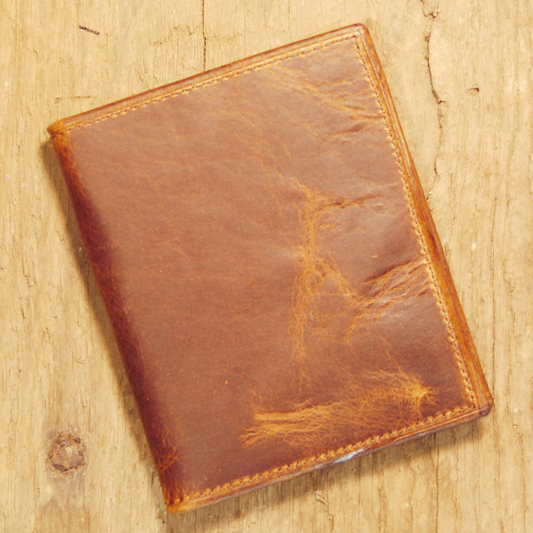 Dark's Leather Money Clip Wallet in Bison Tobacco, Front