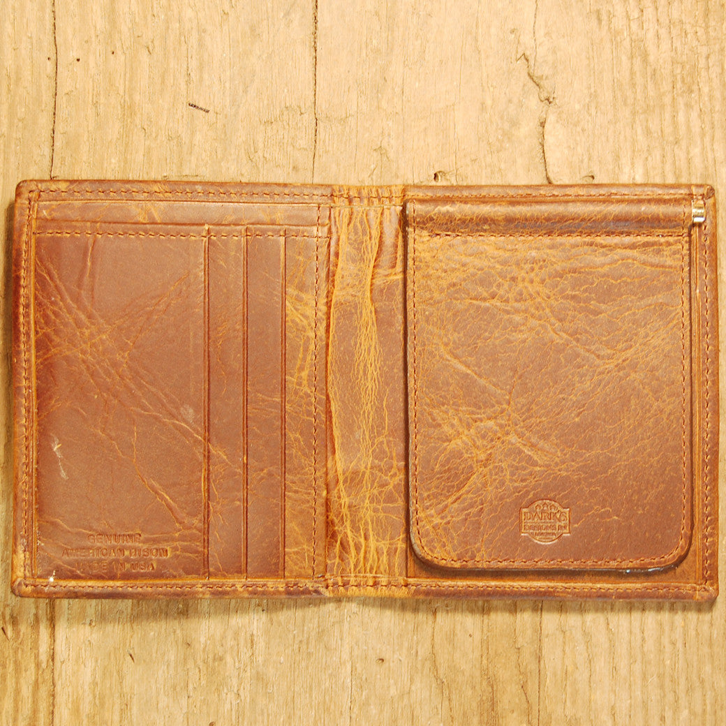 Dark's Leather Money Clip Wallet in Bison Tobacco, Interior