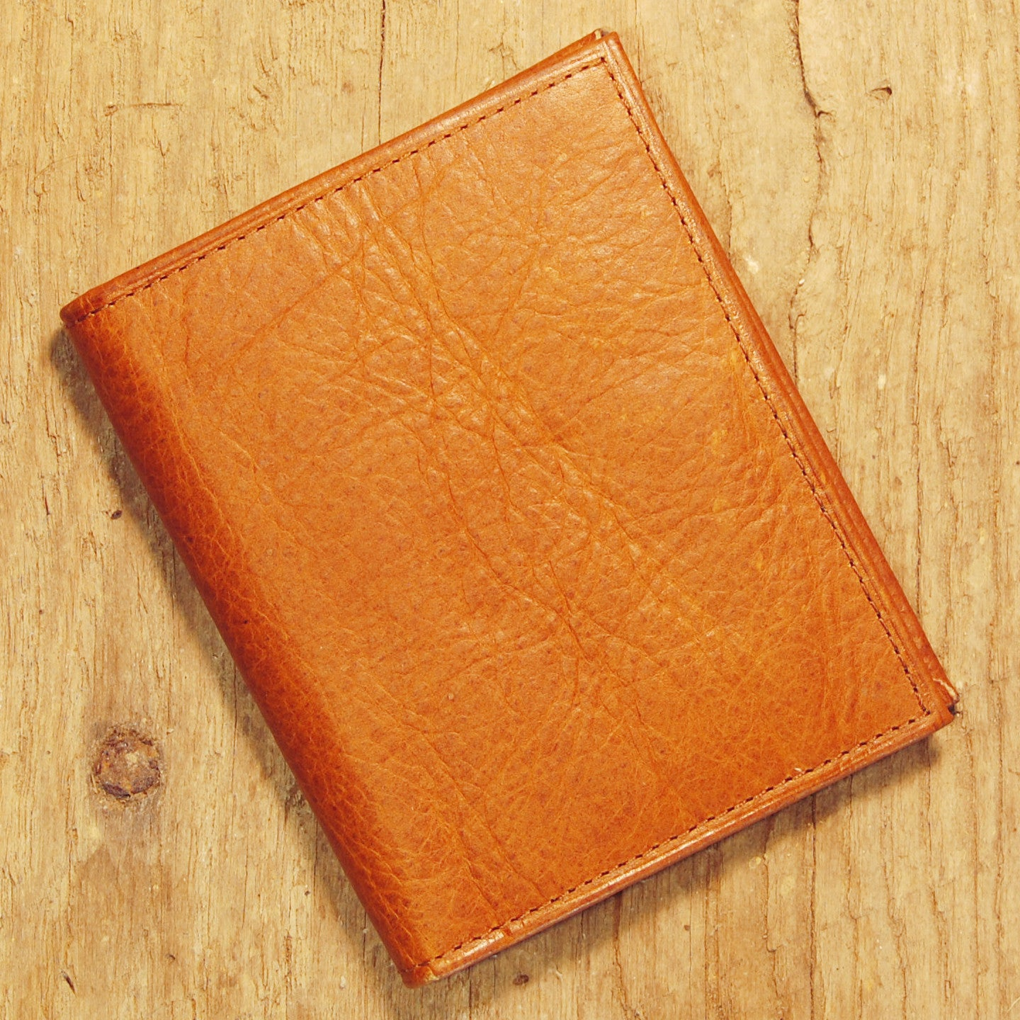 Dark's Leather Money Clip Wallet in Bison Whiskey, Front