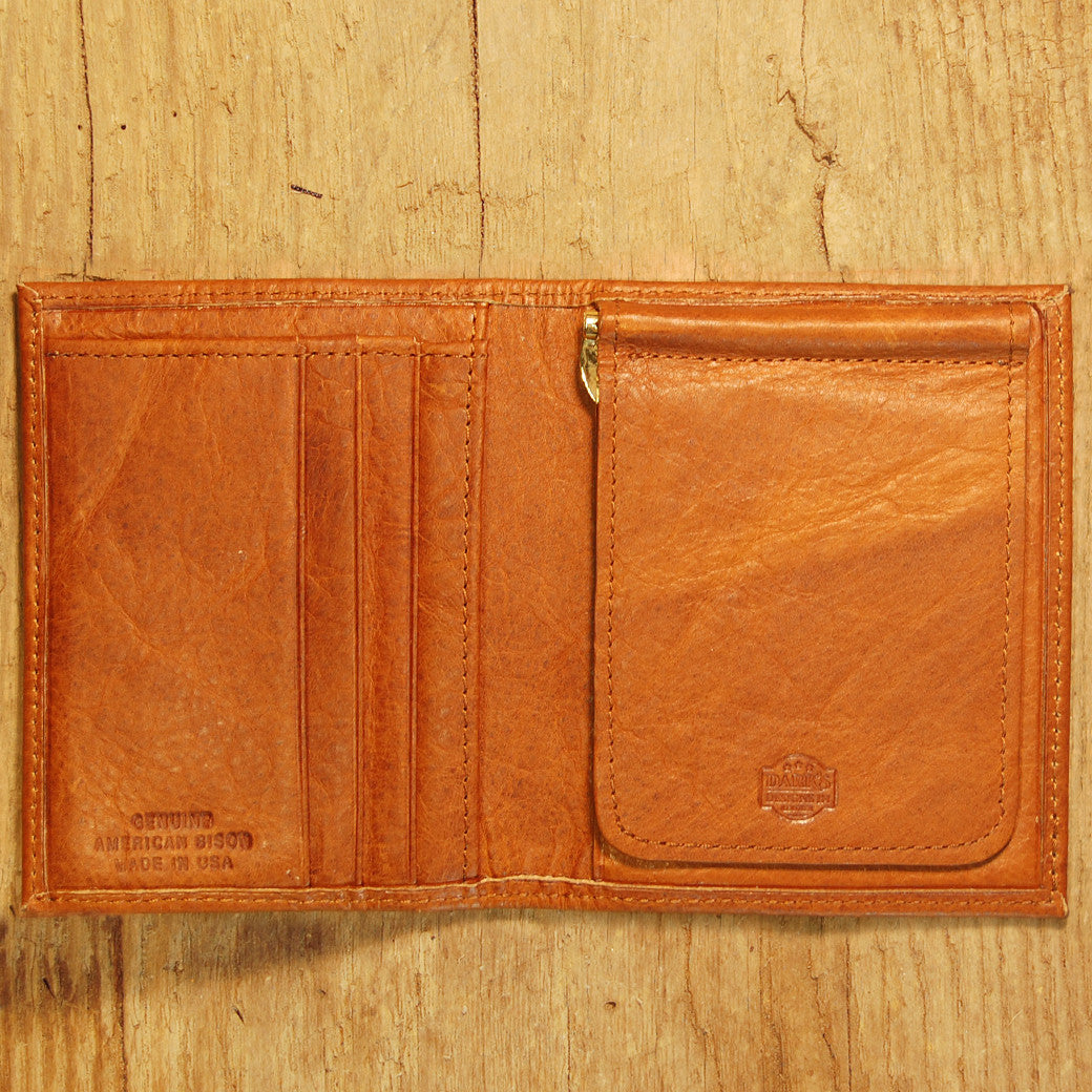 Dark's Leather Money Clip Wallet in Bison Whiskey, Interior
