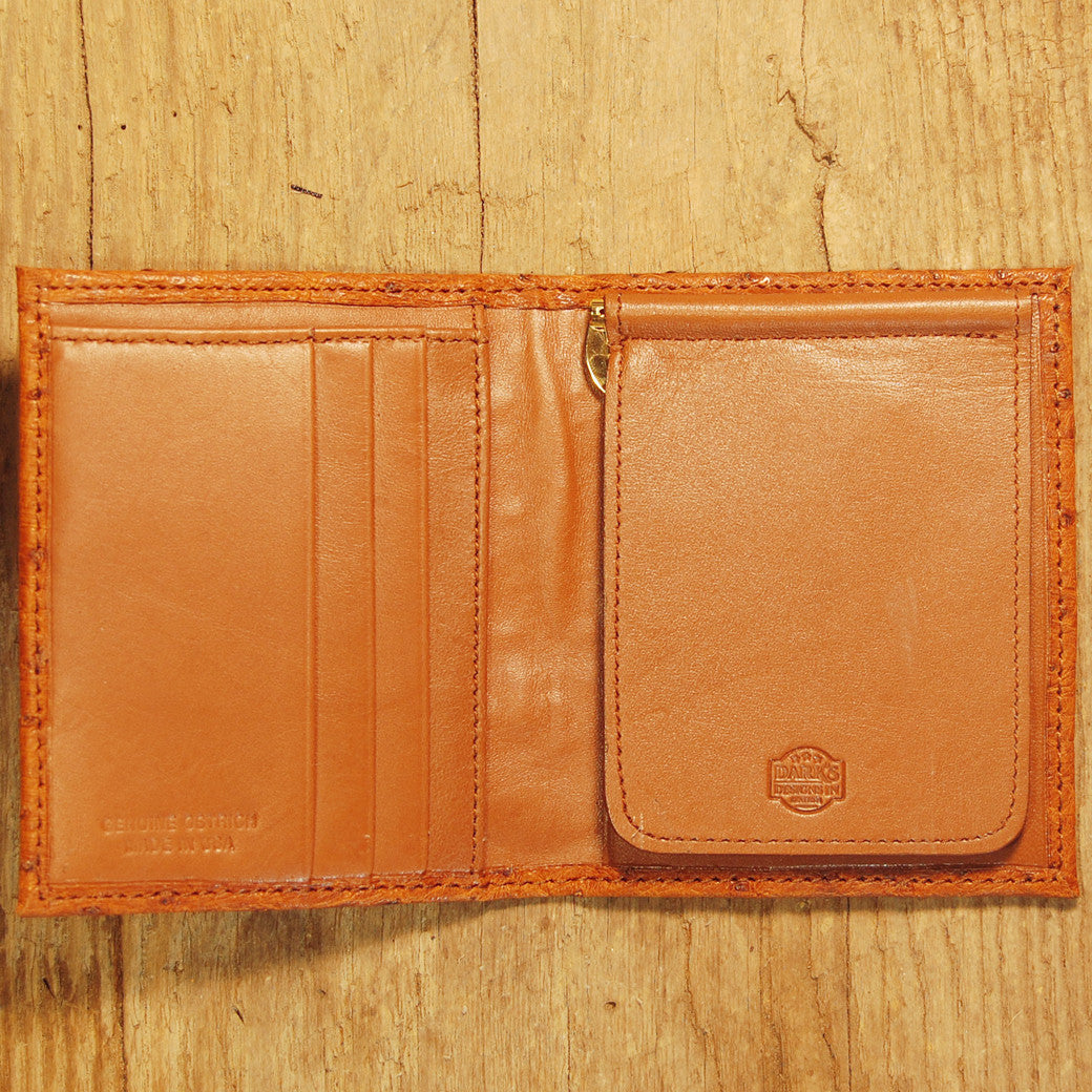 Dark's Leather Money CLip Wallet in Ostrich Cognac, Interior