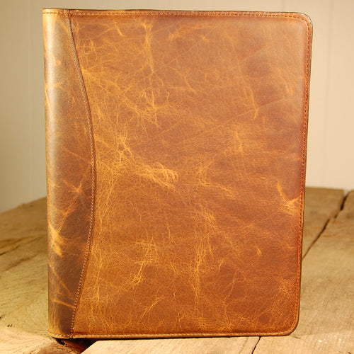 Dark's Leather Portfolio Notebook in Bison Tobacco, Front
