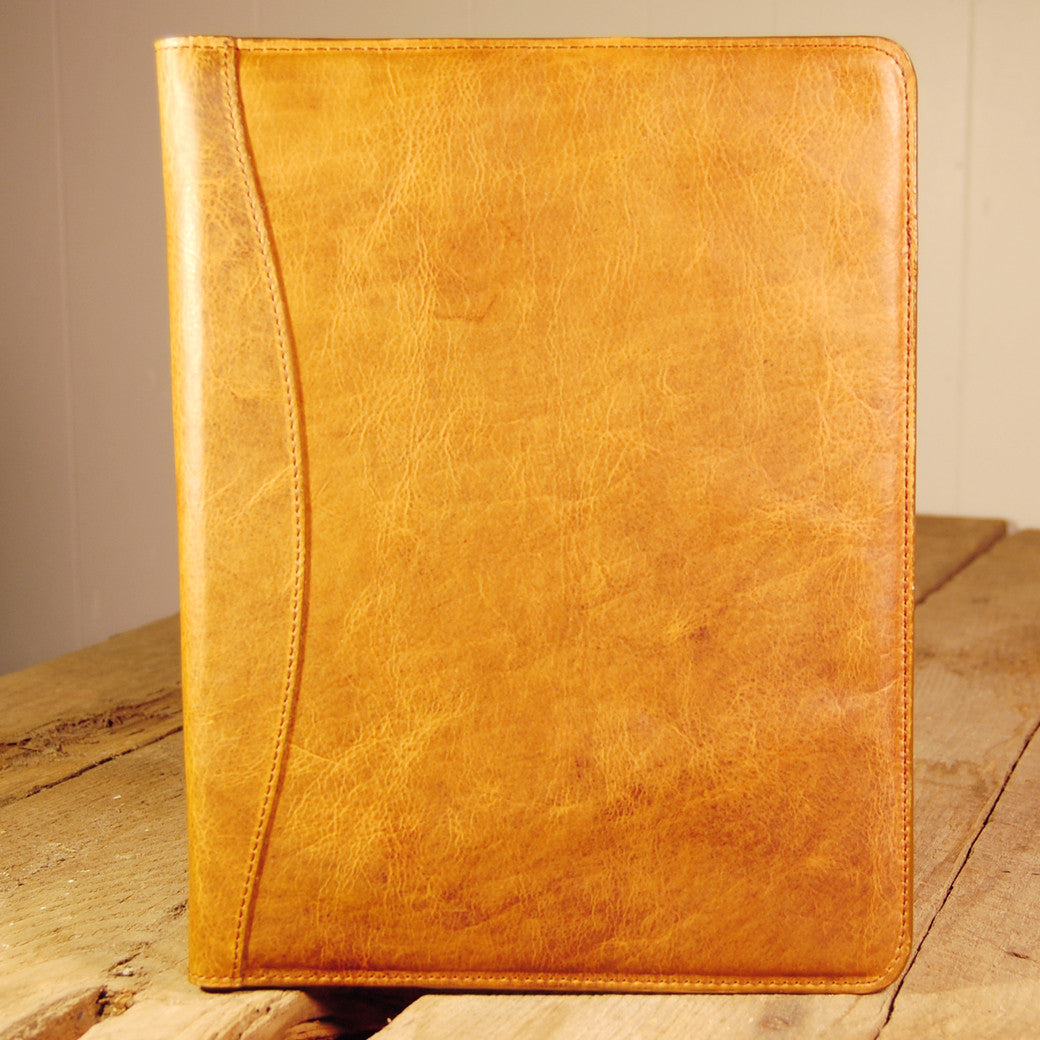 Dark's Leather Portfolio Notebook in Bison Whiskey, Front