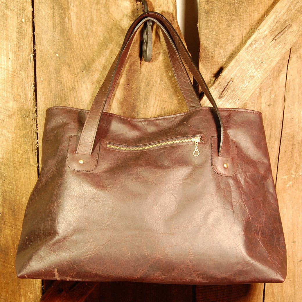 Dark's Leather Tote Bag in Bison Espresso, Back