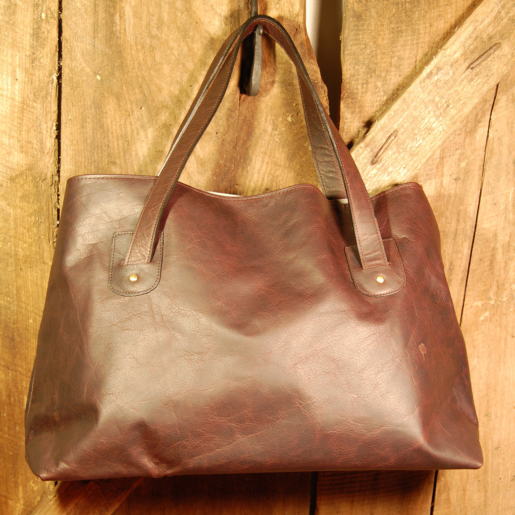 Dark's Leather Tote Bag in Bison Espresso, Front