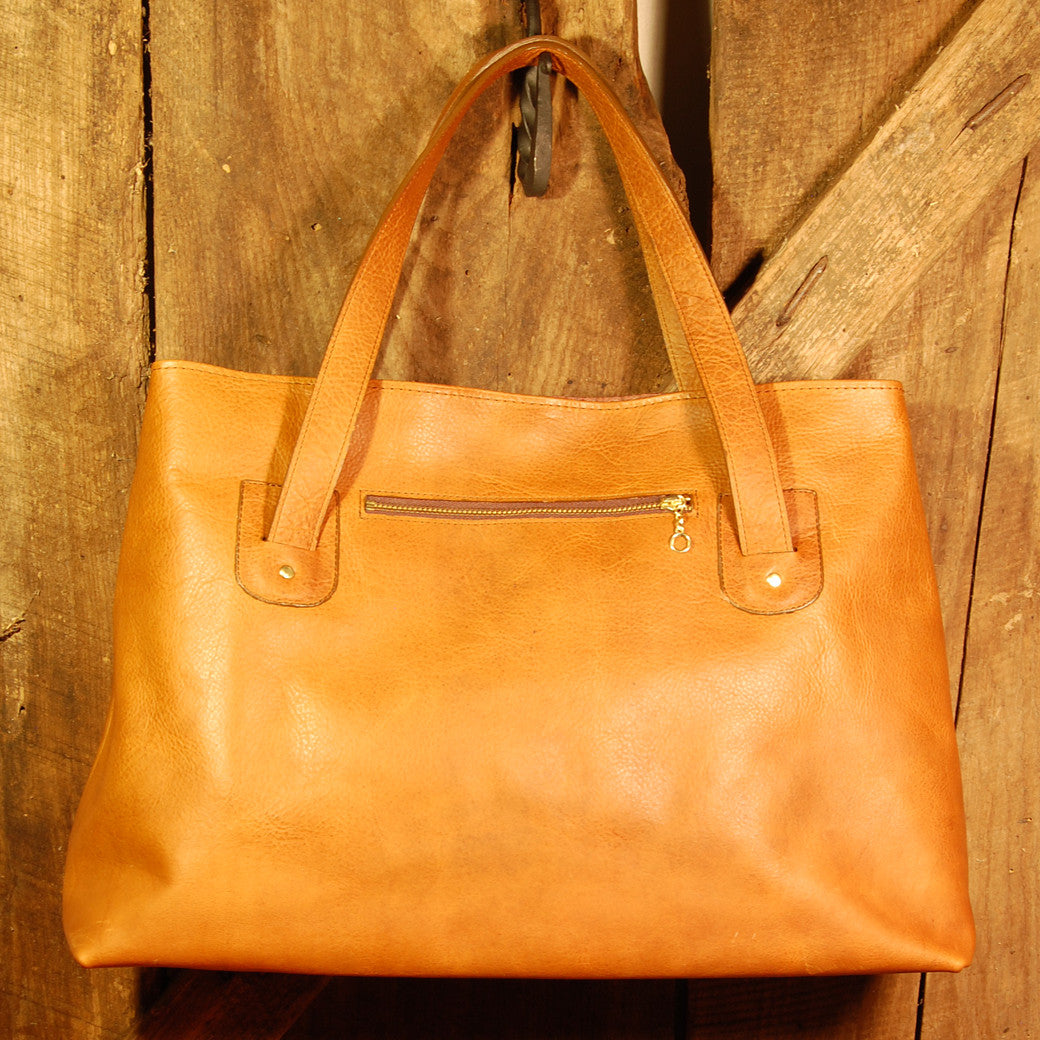 Dark's Leather Tote Bag in Bison Whiskey, Back