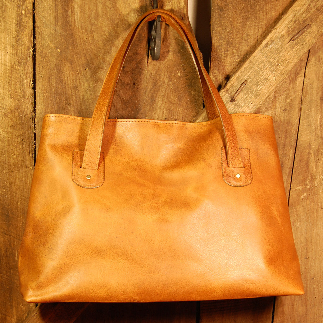Dark's Leather Tote Bag in Bison Whiskey, Front
