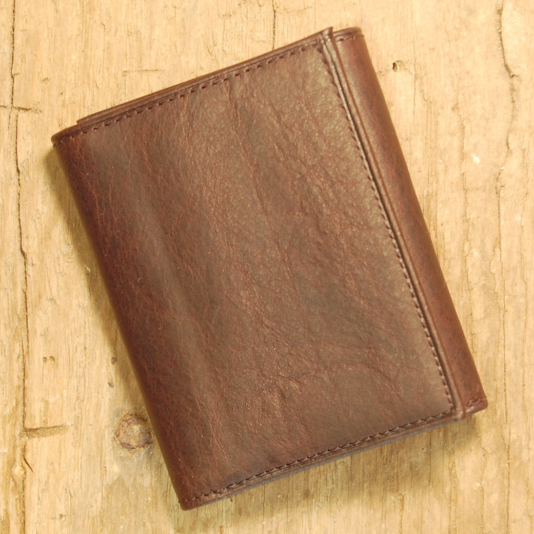 Dark's Leather Trifold Wallet in Espresso Bison, Front