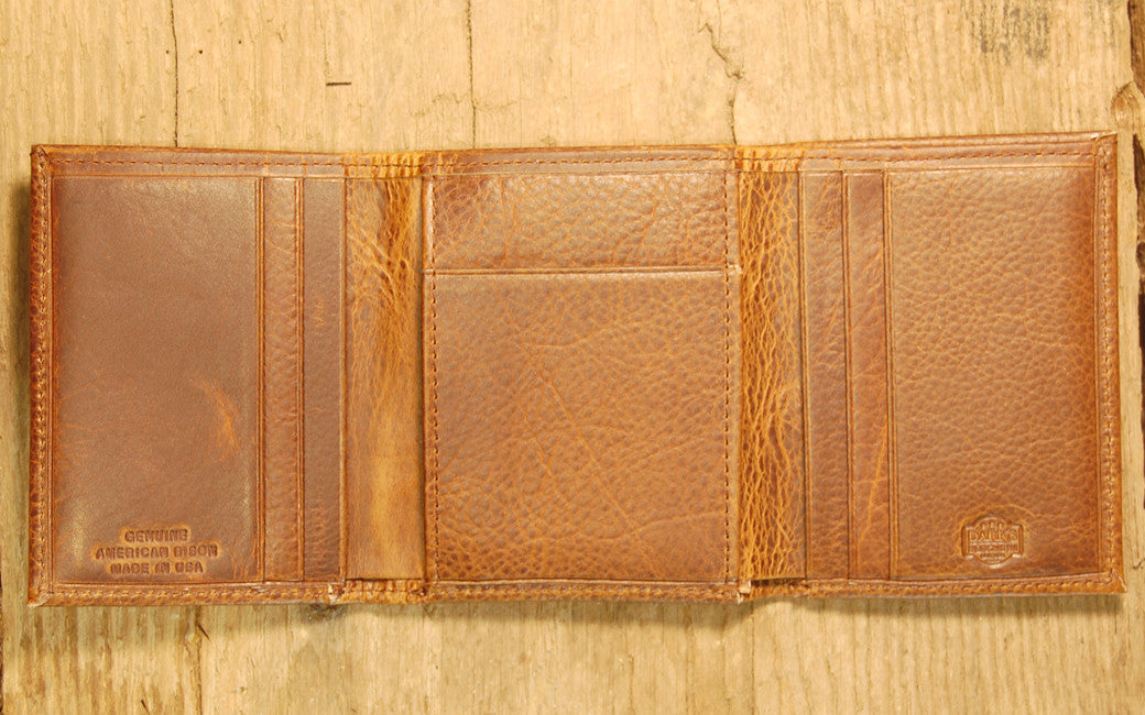 Dark's Leather Trifold Wallet in Espresso Bison, Interior