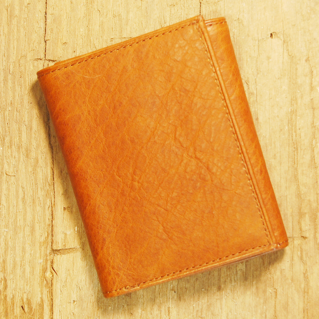 Dark's Leather Trifold Wallet in Whiskey Bison, Front