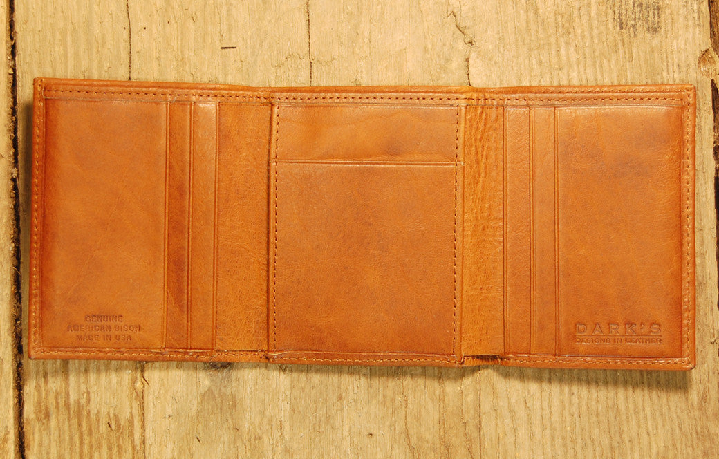 Dark's Leather Trifold Wallet in Whiskey Bison, Interior