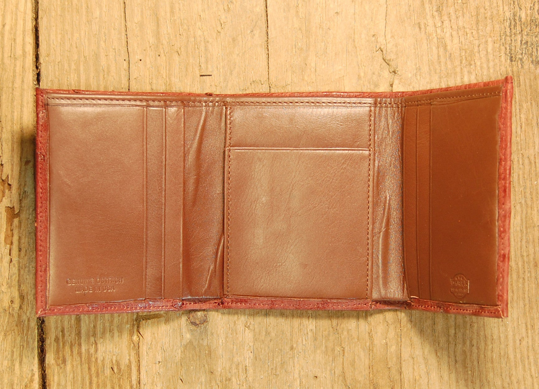 Dark's Leather Trifold Wallet in Ostrich Burgundy, Interior