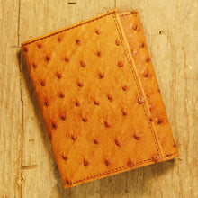 Dark's Leather Trifold Wallet in Ostrich Cognac, Front