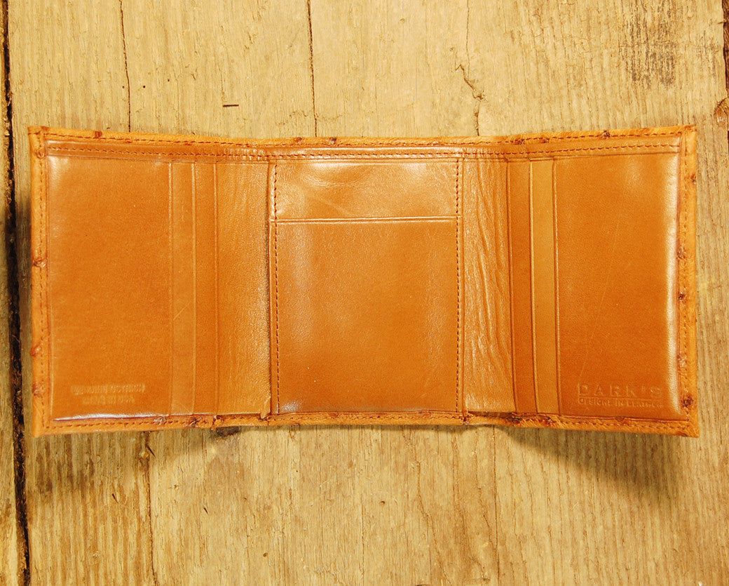 Dark's Leather Trifold Wallet in Ostrich Cognac, Interior