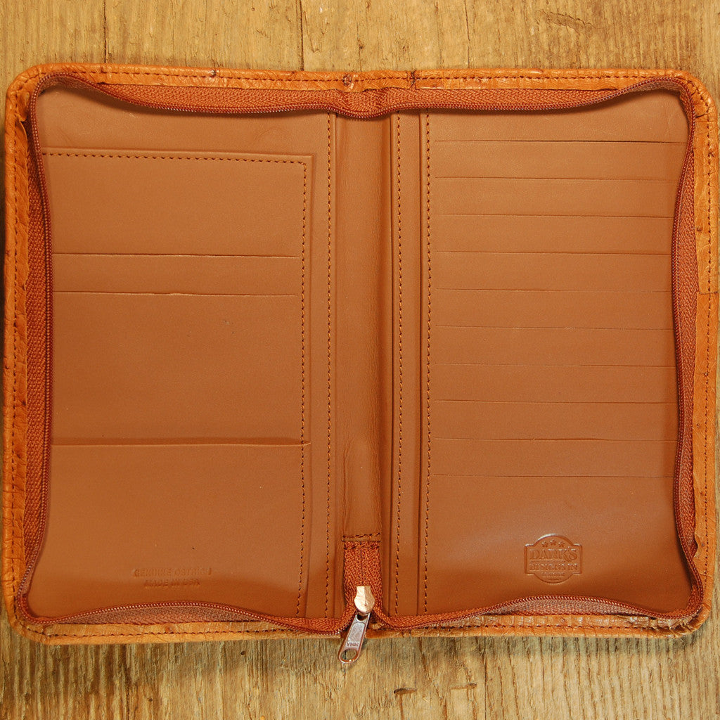 Darks Leather Zippered Valise in Ostrich Cognac Inside View