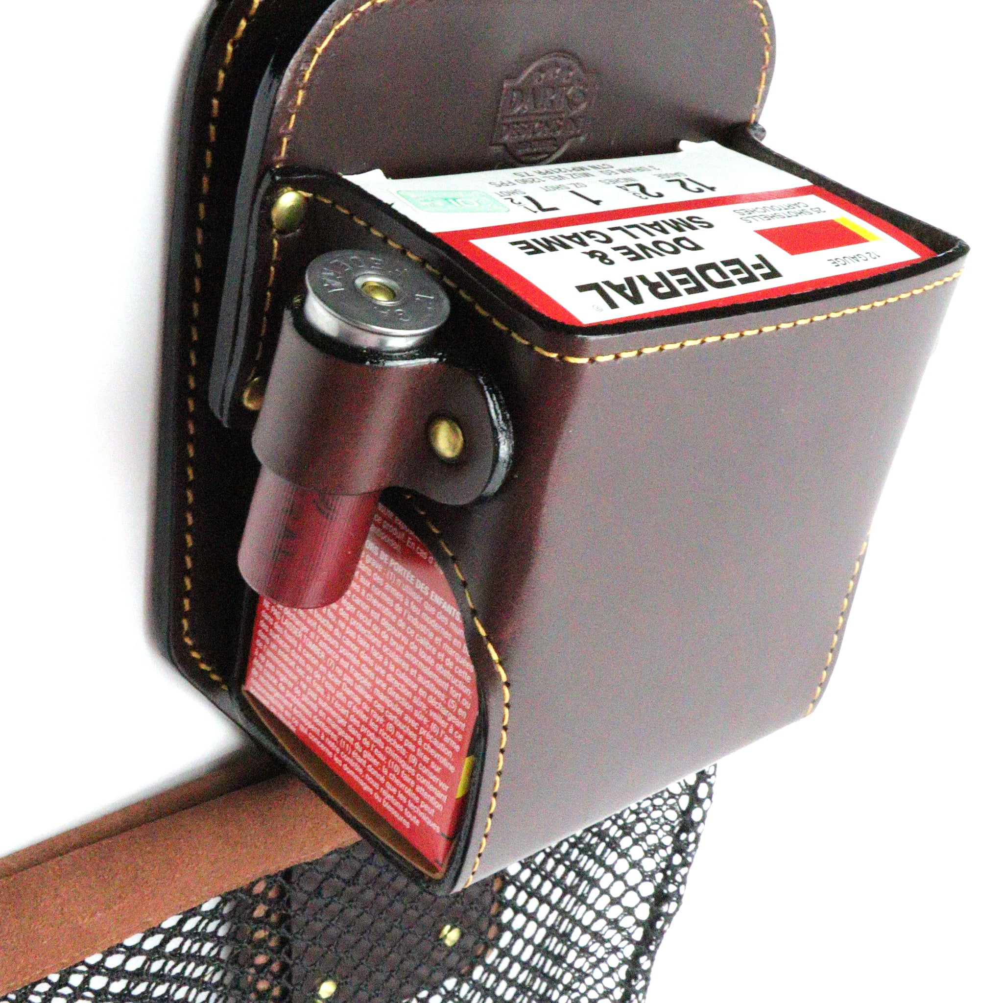 "Dark's Leather - ""The Rig"" Shotgun Shell Case in Bridle Leather, Detail"