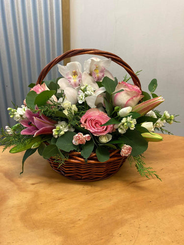 Pink and White Basket Arrangement.