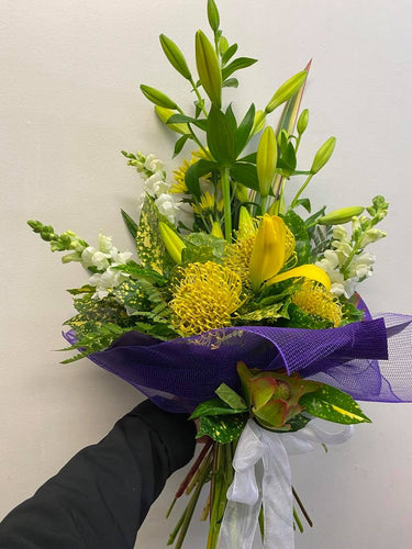 Yellow, White and purple  Bouquet.