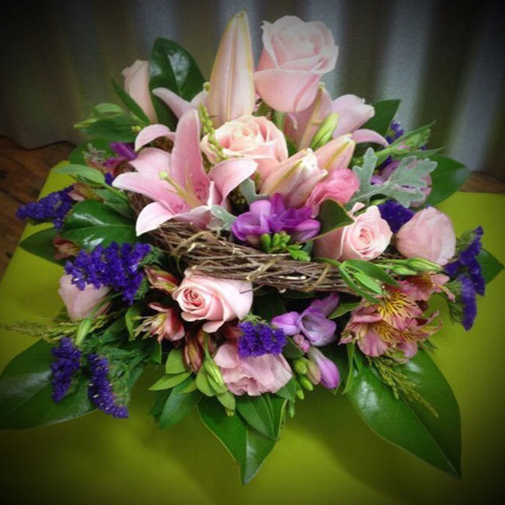 Round Posy Bowl Arrangement in Soft Colours