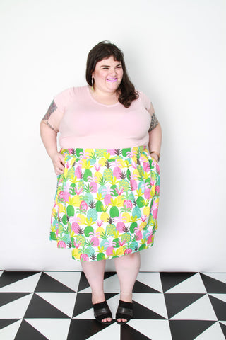 Pineapple A-Line Plus Size Skirt with Pockets