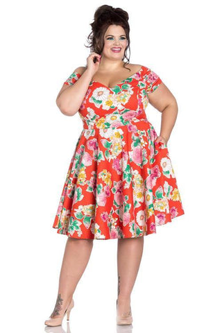 Floral Plus Size Dress with Pockets