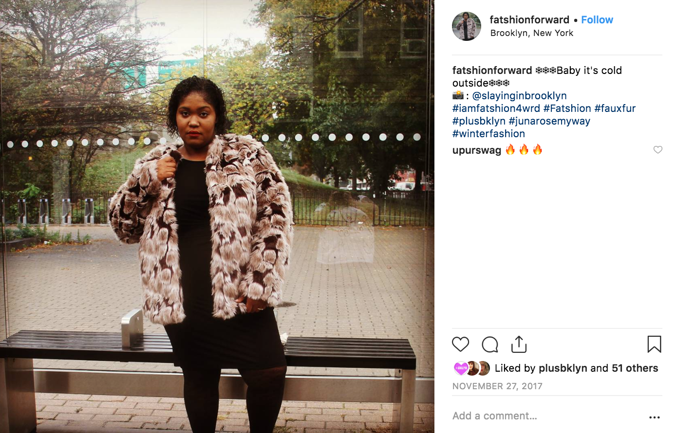 Shereece wearing a plus size faux fur coat modeling outside