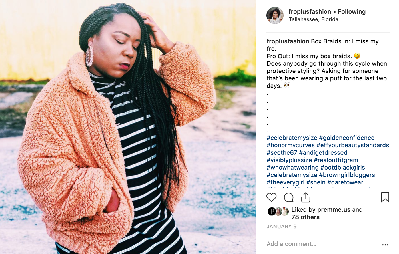 Plus size blogger FroPlusFashion rocking box braids and a plus size coat
