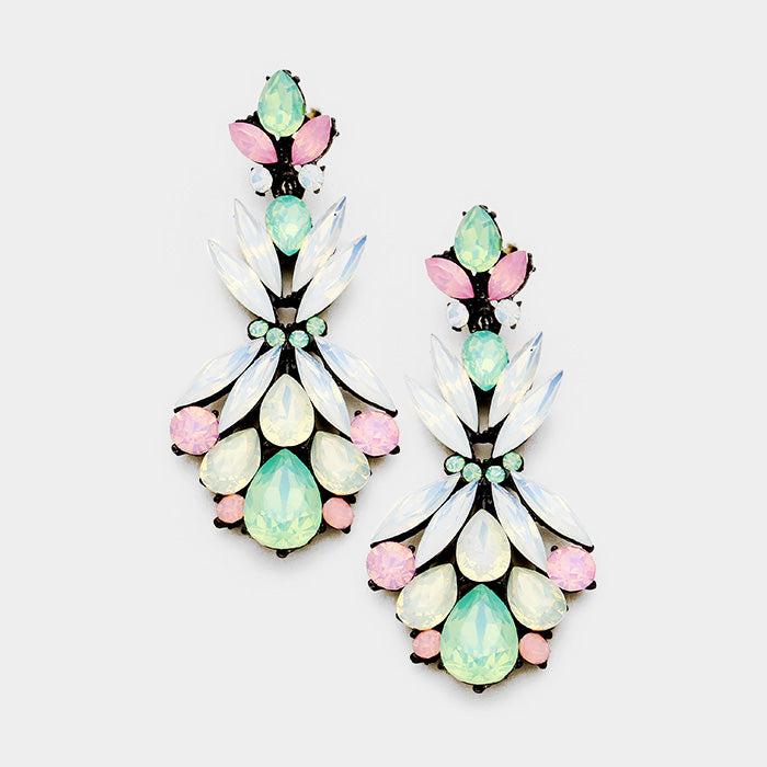 Marquise Floral Crystal Party Down Earrings