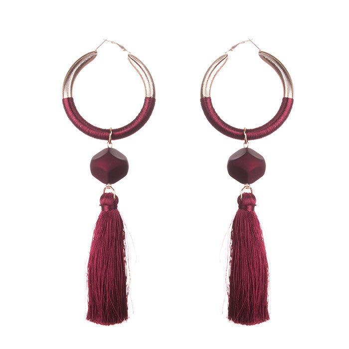 Burgundy Hoop Tassel Earrings