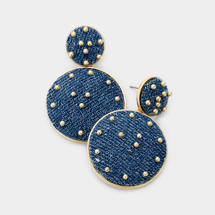 Studded Double Disc Earrings