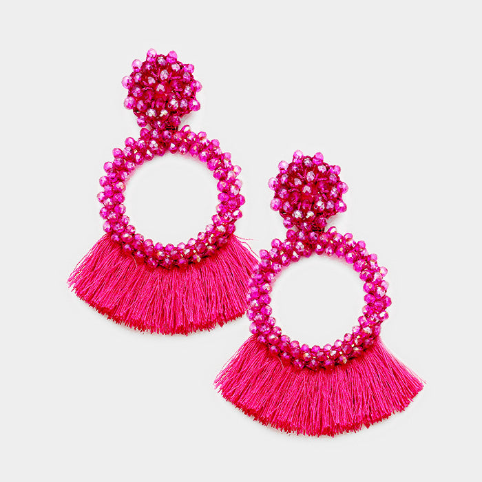 Oversized Beaded Hoop Fan Earrings
