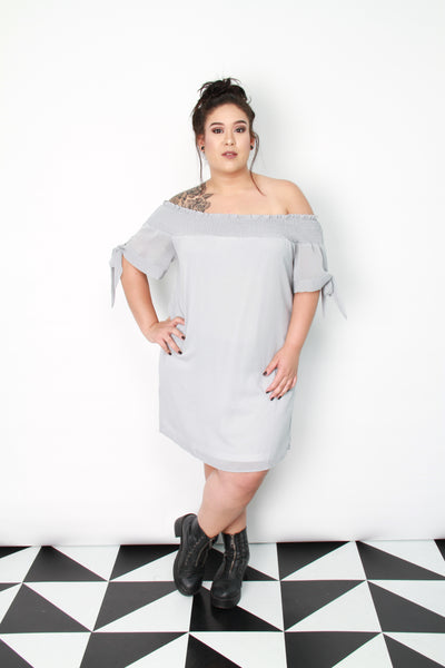 Gray Off-Shoulder Dress