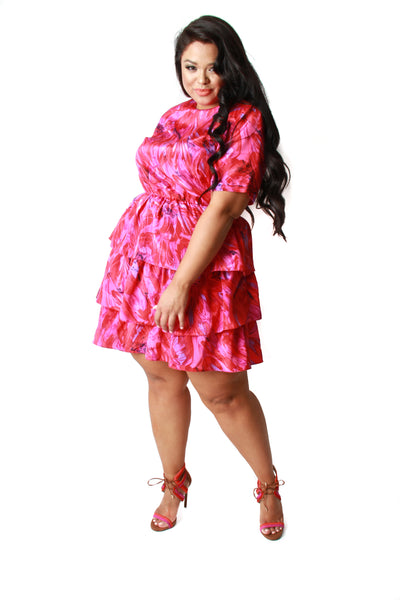VINTAGE 80's Hot Pink Ruffle Dress