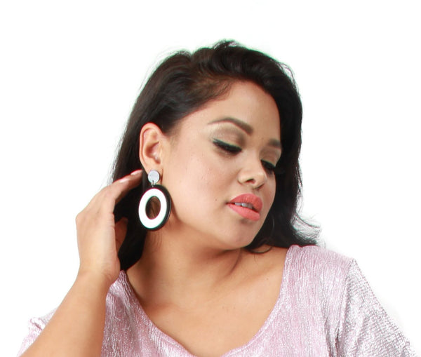 Mod B&W Circle Earrings