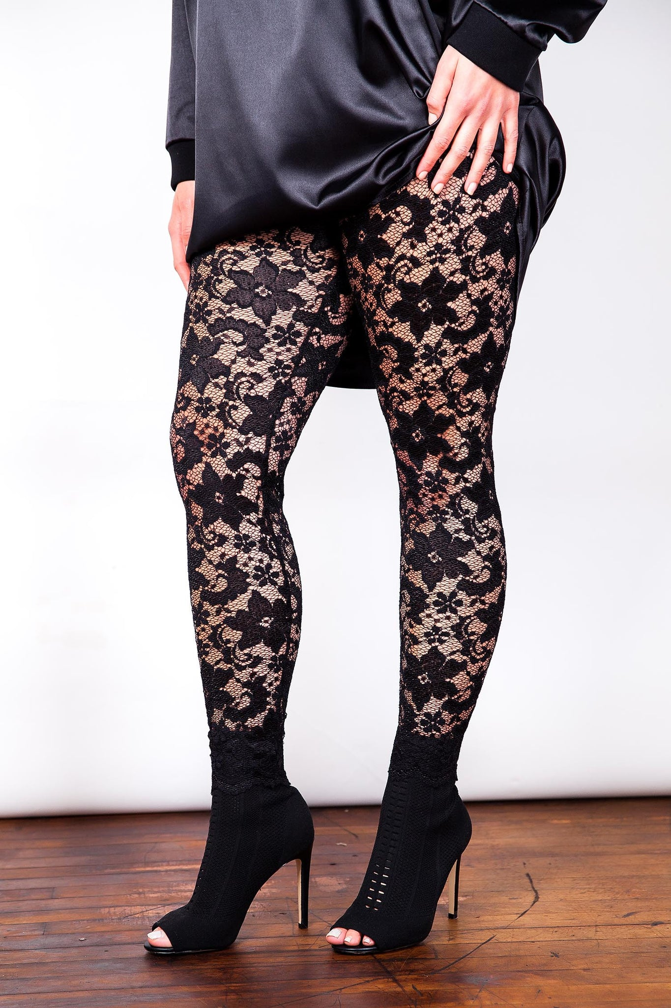 Black Stretch Sheer Lace Leggings