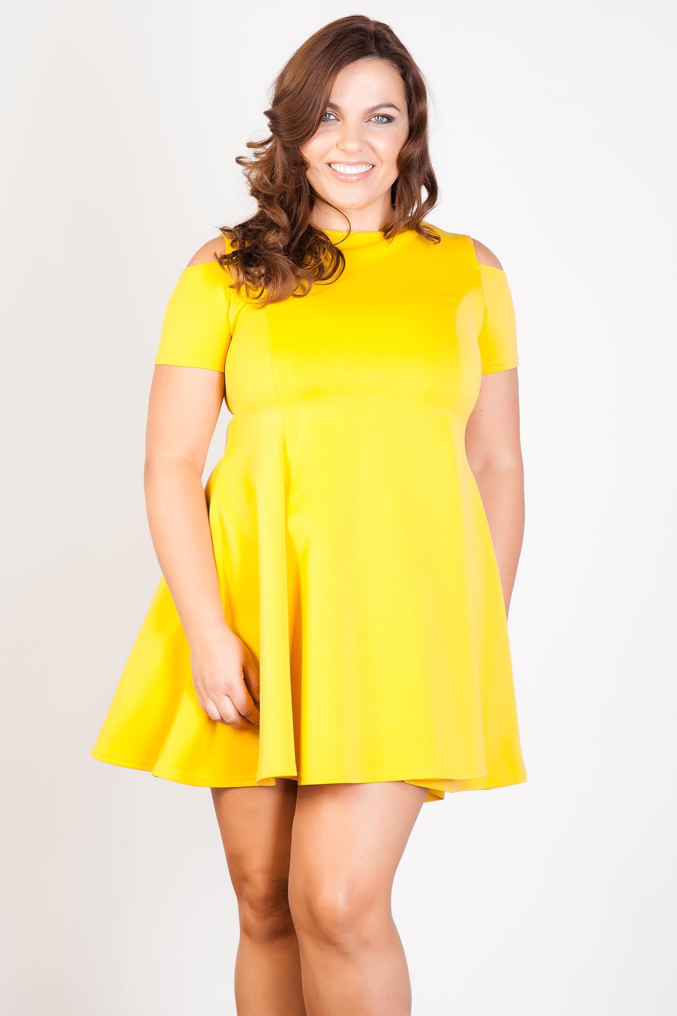 Mustard Cut-Out Fit & Flare Dress