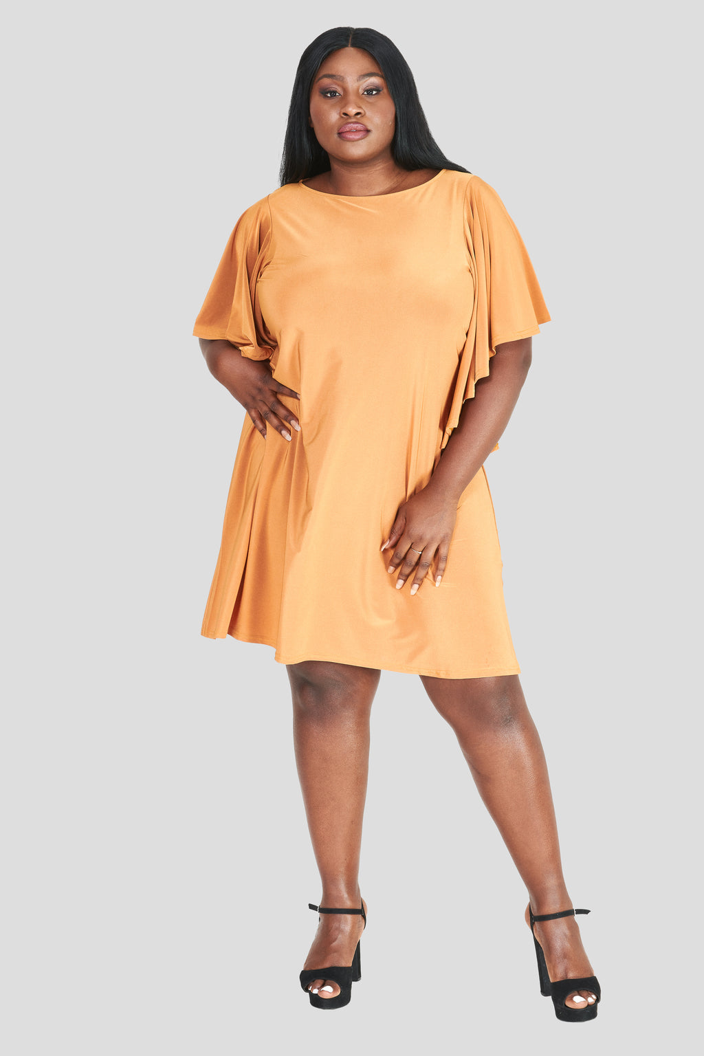 Burnt Orange Ruffle Shift Dress