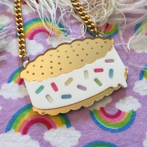 Rainbow Sprinkle Ice Cream Sandwich Acrylic Necklace