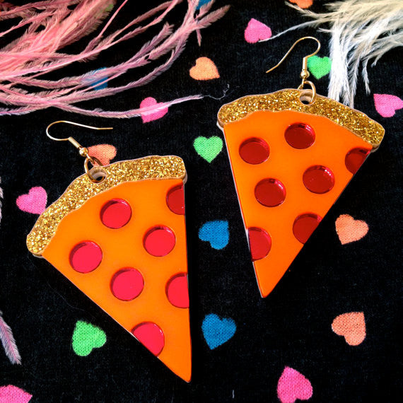 Pizza Laser Cut Acrylic Earrings