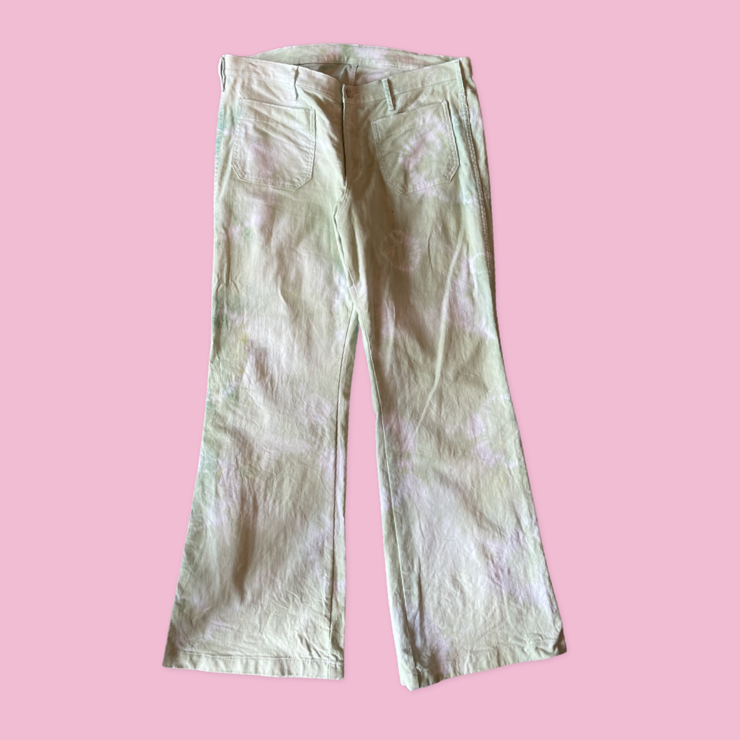 Green Dye Gap Flare Denim