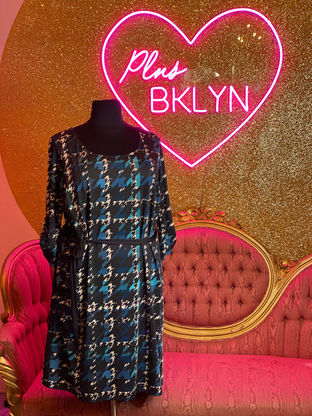 Blue Houndstooth Dress with Waist Tie