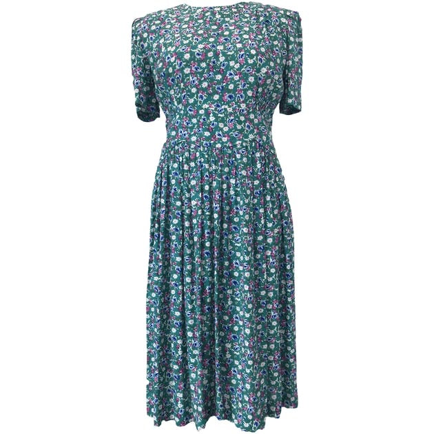 80's Green Floral Print Elastic Waistband Dress