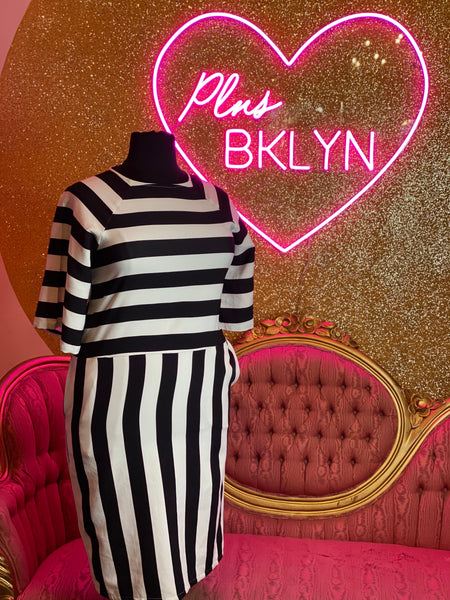 Vertical and Horizontal Striped Dress