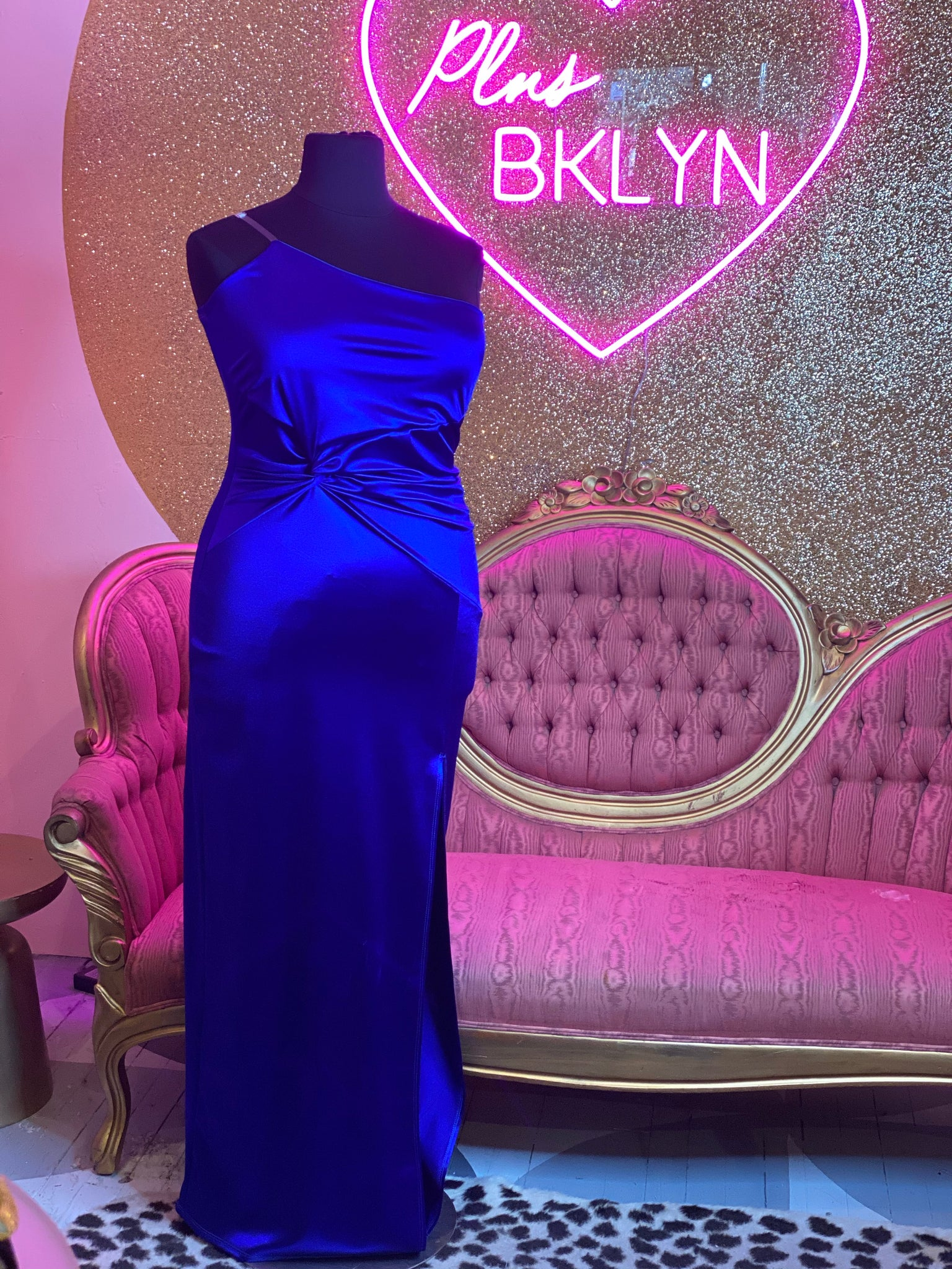 Fashion NOVA Blue Slit One Sleeve Maxi