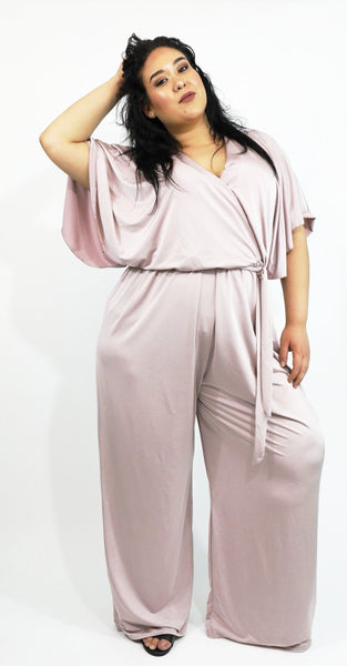 70s Disco Blush Wrap Jumpsuit