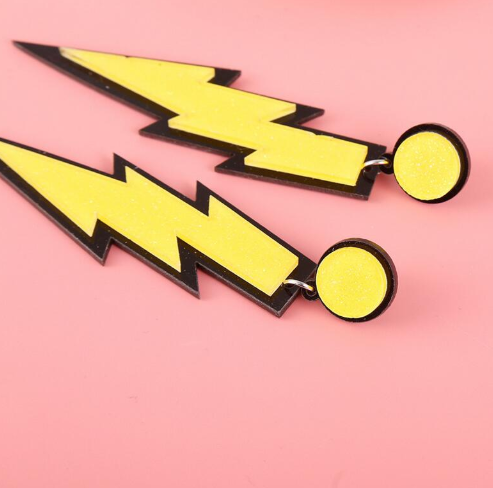 Yellow Lightning Bolt Earrings